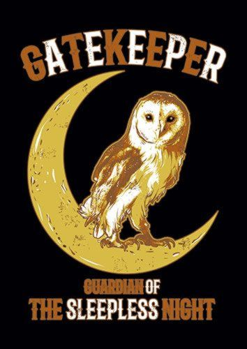 Owl Gate Keeper, Sandy\Brown\Blue\Mix colour, X-Large A1 24x36Inch size - From £17.50   Metal Plate Pictures