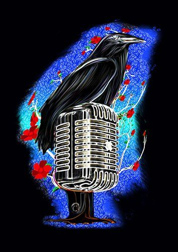 Crow mic art lou - From £17.50 | Metal Plate Pictures