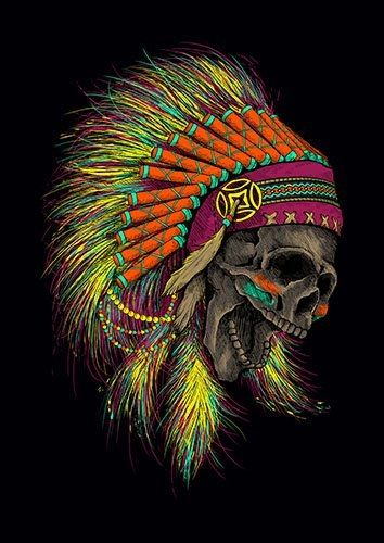 Jamboree skull indian lou - From £17.50 | Metal Plate Pictures