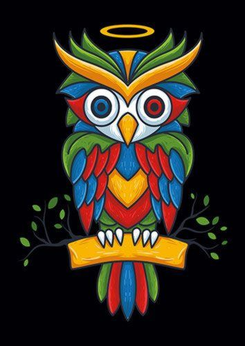 Colorful Owl 2, Sandy\Brown\Blue\Mix colour, X-Large A1 24x36Inch size - From £17.50 | Metal Plate Pictures
