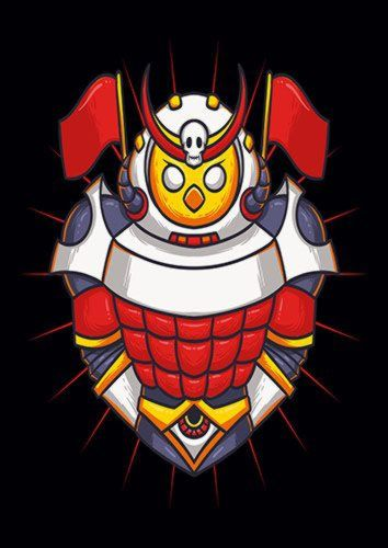 Owl Samurai, Sandy\Brown\Blue\Mix colour, X-Large A1 24x36Inch size - From £17.50   Metal Plate Pictures