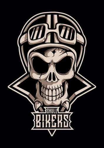 Skull Bikers, Sandy\Brown\Blue\Mix colour, X-Large A1 24x36Inch size - From £17.50 | Metal Plate Pictures