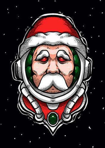 Santa Spaceman, Sandy\Brown\Blue\Mix colour, X-Large A1 24x36Inch size - From £17.50 | Metal Plate Pictures