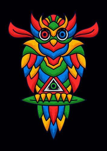 Colorful Owl, Sandy\Brown\Blue\Mix colour, X-Large A1 24x36Inch size - From £17.50   Metal Plate Pictures