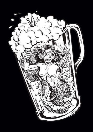 Mermaid In Beer, Sandy\Brown\Blue\Mix colour, X-Large A1 24x36Inch size - From £17.50 | Metal Plate Pictures