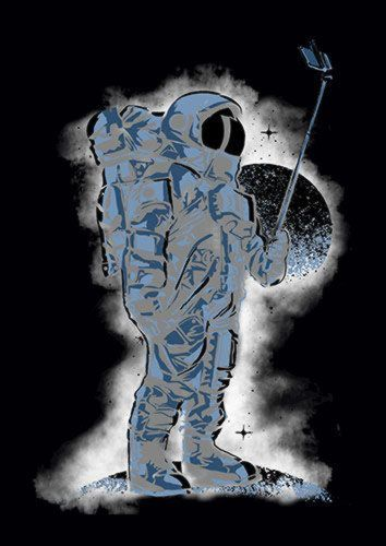 Selfie Astronaut E, Sandy\Brown\Blue\Mix colour, X-Large A1 24x36Inch size - From £17.50 | Metal Plate Pictures