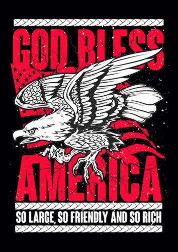 God Bless America, Sandy\Brown\Blue\Mix colour, X-Large A1 24x36Inch size - From £17.50 | Metal Plate Pictures