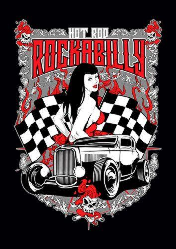 Hot Rod Rockabilly, Sandy\Brown\Blue\Mix colour, X-Large A1 24x36Inch size - From £17.50 | Metal Plate Pictures