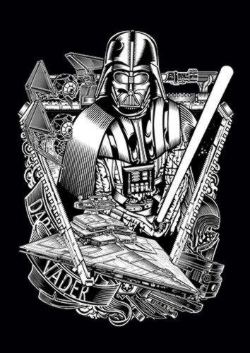 Darth Vader BW Dlo, Sandy\Brown\Blue\Mix colour, X-Large A1 24x36Inch size - From £17.50 | Metal Plate Pictures