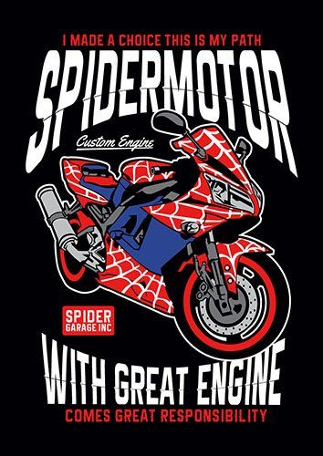 Spider motobike nad - From £17.50 | Metal Plate Pictures