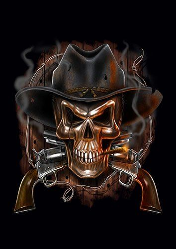 Cowboy skull guns smoke - From £17.50 | Metal Plate Pictures