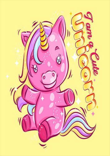 Unicorn Playing With Happy Smile Kidz Pix, Sandy\Brown\Blue\Mix colour, X-Large A1 24x36Inch size - From £17.50 | Metal Plate Pictures