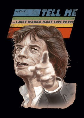 Mick Jagger Singer Tell Me Music 114 Rock, Sandy\Brown\Blue\Mix colour, X-Large A1 24x36Inch size - From £17.50 | Metal Plate Pictures