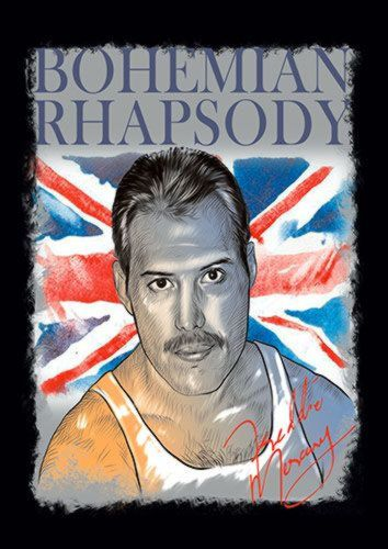 Bohemian Rhapsody Freddie Singer Music 114 Rock, Sandy\Brown\Blue\Mix colour, X-Large A1 24x36Inch size - From £17.50 | Metal Plate Pictures