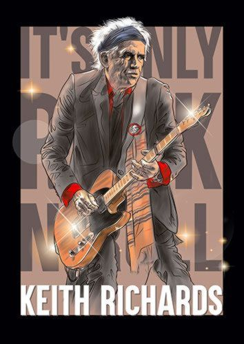 Keith Richards Music Singer 114 Rock, Sandy\Brown\Blue\Mix colour, X-Large A1 24x36Inch size - From £17.50   Metal Plate Pictures