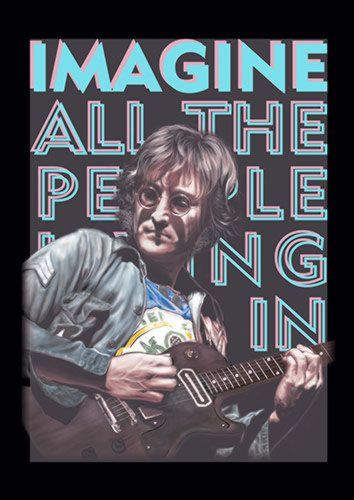 Imagine John Lennon Beetles Music 114 Rock, Sandy\Brown\Blue\Mix colour, X-Large A1 24x36Inch size - From £17.50   Metal Plate Pictures