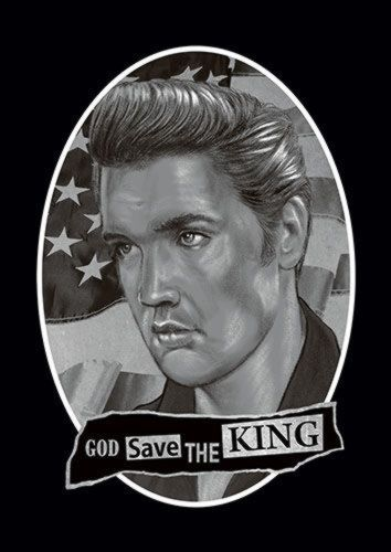 The King Elvis Singer Music 114 Rock, Sandy\Brown\Blue\Mix colour, X-Large A1 24x36Inch size - From £17.50   Metal Plate Pictures