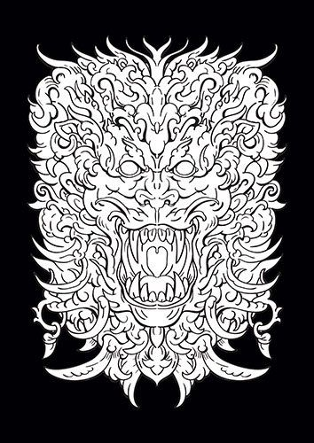 Black and White Ornamental Lion - From £17.50 | Metal Plate Pictures