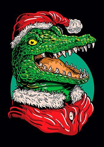 Christmas chrocodile - From £17.50 | Metal Plate Pictures