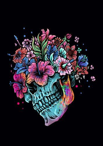 Flowers Skull Muha, Sandy\Brown\Blue\Mix colour, X-Large A1 24x36Inch size - From £17.50 | Metal Plate Pictures