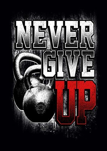 Never Give UP gym training weights kla - From £17.50 | Metal Plate Pictures