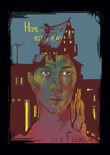 Home Is Not A Place Its A Feeling Mag, Sandy\Brown\Blue\Mix colour, X-Large A1 24x36Inch size - From £17.50 | Metal Plate Pictures