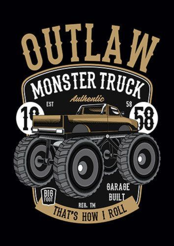Outlaw Monster Truck Ns, Sandy\Brown\Blue\Mix colour, X-Large A1 24x36Inch size - From £17.50 | Metal Plate Pictures