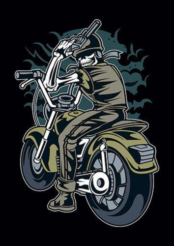 Skull Rider Ns, Sandy\Brown\Blue\Mix colour, X-Large A1 24x36Inch size - From £17.50   Metal Plate Pictures