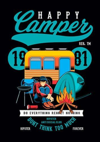 Happy Camper Ns, Sandy\Brown\Blue\Mix colour, X-Large A1 24x36Inch size - From £17.50   Metal Plate Pictures