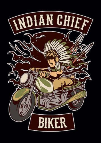 Indian Chief Biker Club Ns, Sandy\Brown\Blue\Mix colour, X-Large A1 24x36Inch size - From £17.50 | Metal Plate Pictures