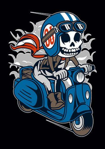 Skull Scooter Ns, Sandy\Brown\Blue\Mix colour, X-Large A1 24x36Inch size - From £17.50 | Metal Plate Pictures