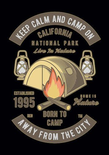 Keep Calm And Camp Ns, Sandy\Brown\Blue\Mix colour, X-Large A1 24x36Inch size - From £17.50   Metal Plate Pictures