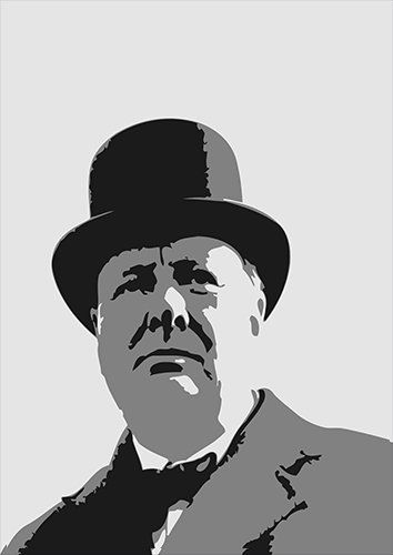 Britain Churchill Famous People Politician UK, Black colour - From £17.50 | Metal Plate Pictures