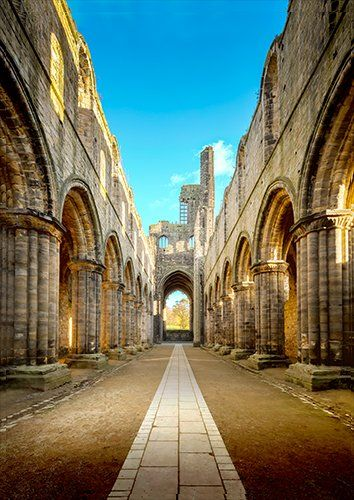 Kirkstall abbey UK, Black colour - From £17.50 | Metal Plate Pictures