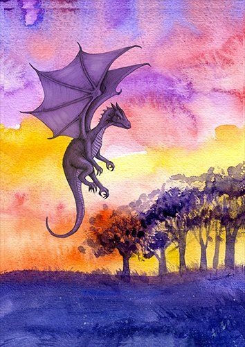 Dragon in the woods fantasy, Black colour - From £17.50 | Metal Plate Pictures