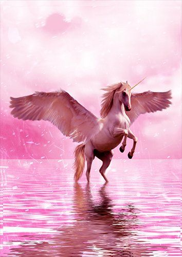 Pink flying unicorn fantasy, Black colour - From £17.50 | Metal Plate Pictures