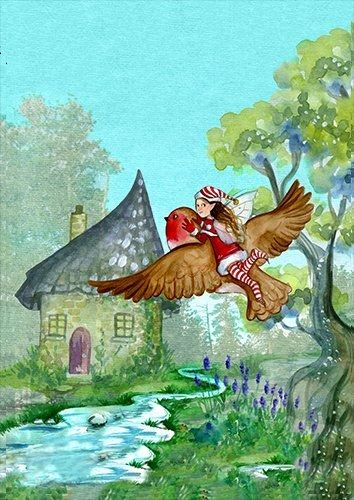 The fairy and the bird going home fantasy, Black colour - From £20.50   Metal Plate Pictures