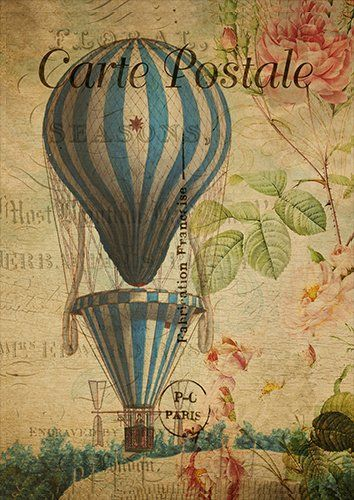 Balloon vintage postcard wat, Black colour - From £17.50 | Metal Plate Pictures