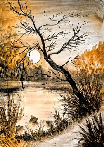 Tree by the lake wat, Black colour - From £17.50 | Metal Plate Pictures