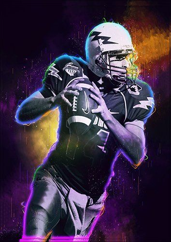 American football player art, Black colour - From £17.50 | Metal Plate Pictures