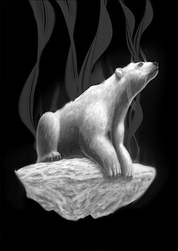 Fading polar bear ice aa, Black colour - From £17.50 | Metal Plate Pictures