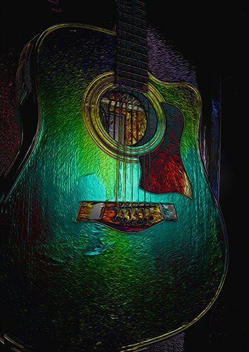 Guitar Metalica, Black colour - From £20.50 | Metal Plate Pictures