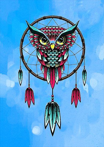 Owl dreamcatcher art, Black colour - From £17.50   Metal Plate Pictures