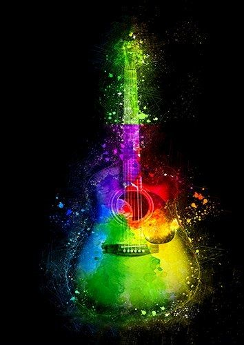 Rainbow acustic guitar, Black colour - From £17.50 | Metal Plate Pictures