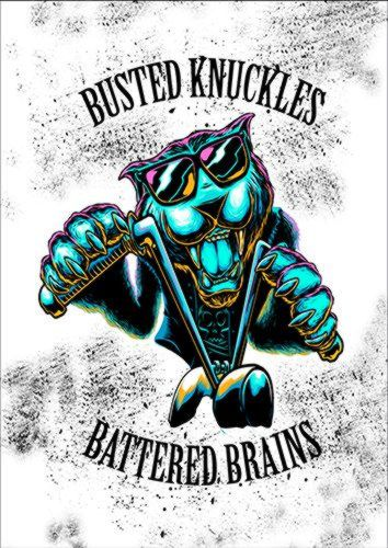 Busted Knuckles Cat Biker White Egg, Black colour, X-Large A1 24x36Inch size - From £17.50 | Metal Plate Pictures
