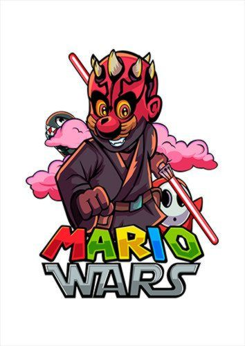 Mario Wars Darth Mario White Dlo, Black colour, X-Large A1 24x36Inch size - From £17.50 | Metal Plate Pictures