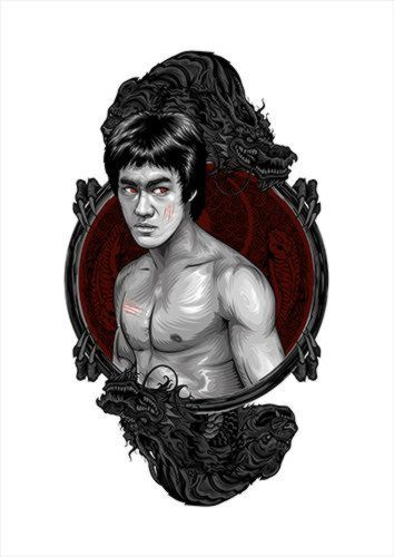 Bruce Lee White Dlo, Black colour, X-Large A1 24x36Inch size - From £17.50 | Metal Plate Pictures