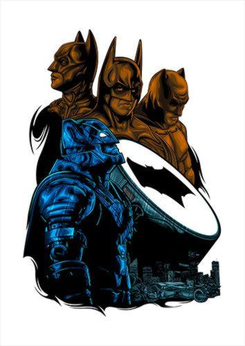 Batfleck Shirt White Dlo, Black colour, X-Large A1 24x36Inch size - From £17.50 | Metal Plate Pictures