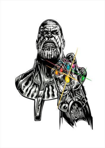 Thanos V1 White Dlo, Black colour, X-Large A1 24x36Inch size - From £17.50 | Metal Plate Pictures