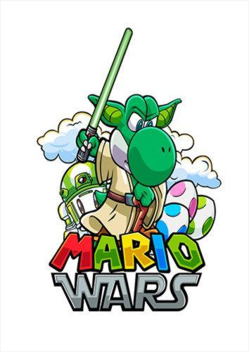 Mario Wars Yoshida White Dlo, Black colour, X-Large A1 24x36Inch size - From £17.50   Metal Plate Pictures